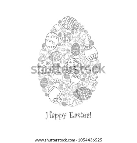 Easter Invitation Card Of Egg Shape From Doodle With Happy Text Lettering