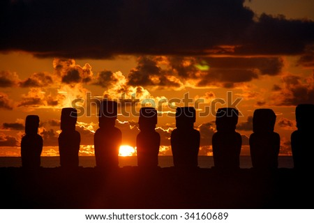 Easter Island Moai at sunrise - stock photo