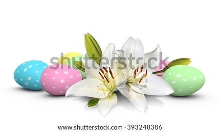 Easter lilies and speckled Easter eggs in holiday pastel colors - stock photo