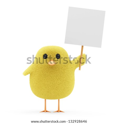 Easter Little Chicken with Blank Board isolated on white background - stock photo