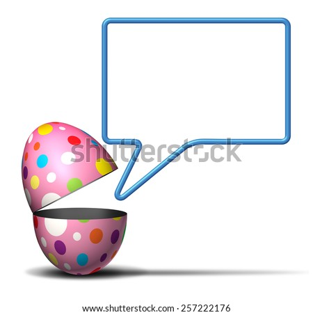 Easter message concept as an open festive decorated spring egg with a talking bubble on a white background as a symbol for seasonal advertising and marketing. - stock photo