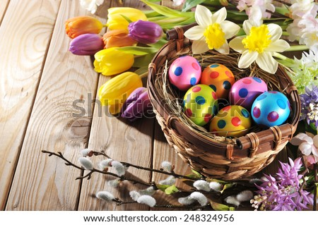 Easter nest with colored henâ??s eggs, narcissus, hyacinth and pussy willow on wooden board - stock photo
