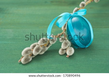 easter painted eggs with pussy willows - stock photo