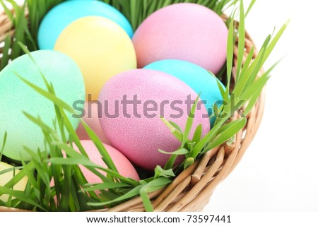 Easter painting eggs in basket,Closeup. - stock photo