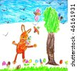Easter - Painting of an easter bunny in children style - stock photo