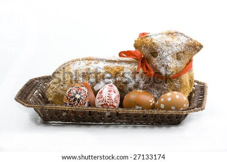 easter pastry, hand painted Easter egg and decorated dose isolated on white background - stock photo
