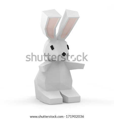 Easter Rabbit in Origami Style isolated on white background