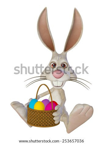 Easter rabbit with Easter eggs, sitting, isolated on the white - stock photo