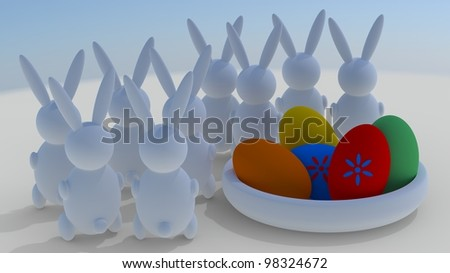 Easter rabbits with easter eggs. - stock photo