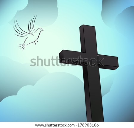 easter resurrection with dove - stock photo