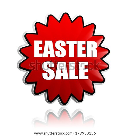 easter sale - 3d red flower banner with white text, business holiday shopping concept