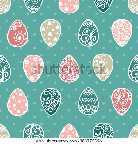 Easter seamless pattern with eggs. Easter walllpaper. Easter eggs. Happy Easter.  - stock photo