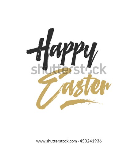 Easter sign - Happy Easter. Easter wishes overlay, lettering label design. Retro holiday badge. Hand drawn emblem. Isolated. Religious holiday sign. Easter photo overlays design for web, print. - stock photo
