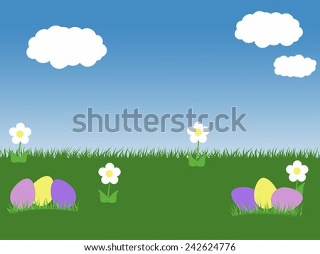 easter spring background with eggs blue sky green grass and white and flowers clouds illustration