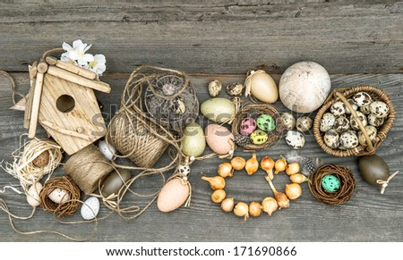 easter still life home interior. vintage decoration with eggs and flower bulbs - stock photo