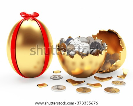 Easter surprise. Golden Easter egg decorated red ribbon and broken golden egg with coins isolated on white background - stock photo