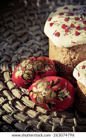 Easter sweet baked and color eggs, photo in vintage style