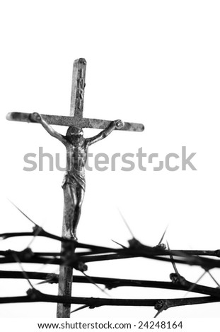 Easter symbols of a crucifix and thorns