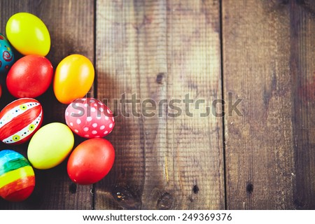 Easter symbols on wooden background  - stock photo
