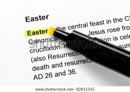 Easter text highlighted in yellow, under the same heading