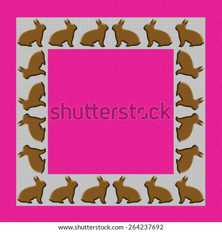 Easter themed square stationery or framed copy area. Pink, textured background with border of brown bunnies. Holiday uses as well as farm, ranch, rabbit fancier. - stock photo