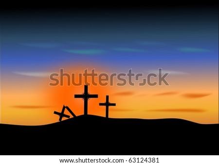 Easter-Three Crosses - stock photo