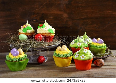 Easter treats, colorful cupcakes, food - stock photo