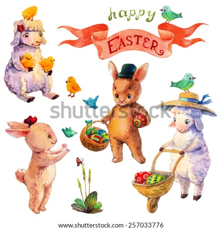 Easter watercolor collection with lamb, rabbit, birds and flowers for beautiful Holiday design - stock photo