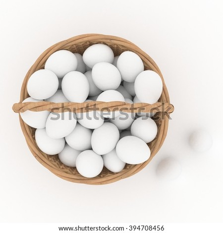 Easter wicker basket with eggs - stock photo