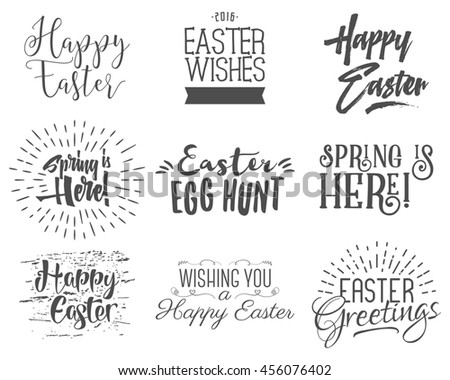 Easter wishes overlays, lettering labels design set. Retro holiday easter badges. Handdrawn emblem with ribbon. Isolated. Religious holiday sign or logo. Easter photo overlays design for web, print - stock photo