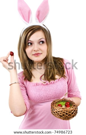 Easter woman with color eggs