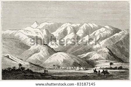 Eastern African mountain range old illustration. Created by Burton, published on Le Tour du Monde, Paris, 1860 - stock photo