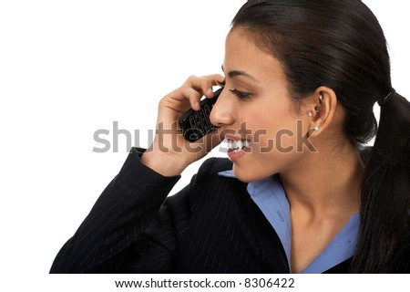 Eastern business young woman calling by cellular phone. - stock photo