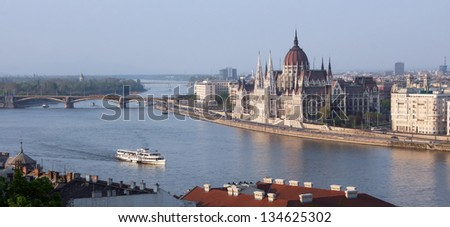 Eastern Europe Hungary Budapest Parliament from Fishermen's Bastion