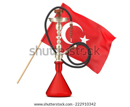 Eastern Glass Hookah with Turkish Flag on a white background  - stock photo