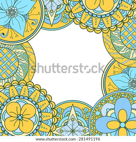 Eastern hand drawn mandala frame, zentangle. Abstract doodle background with place for text. Good for cards, invitations, brochures, bag design, presentation. Relaxing floral elements. Raster copy. - stock photo