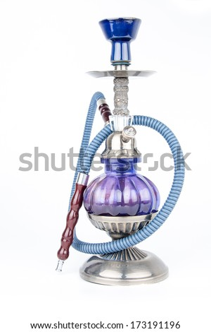Eastern hookah isolated on white background - stock photo