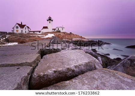 Eastern Point Lighthouse in Gloucestor, Massachusetts - stock photo