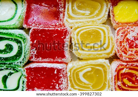 eastern sweets marmalade as a background - stock photo
