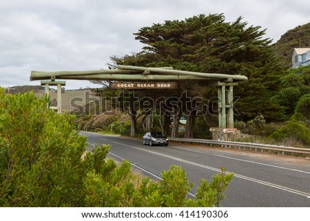 EASTERN VIEW, VICTORIA, AUSTRALIA - APRIL 08: Great Ocean Road memorial arch at Eastern View dedicated to soldiers killed during World War I. April 08, 2016, Eastern View, Victoria, Australia - stock photo