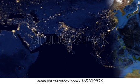 United States Network Night Map Space Stock Photo - Us map day nasa