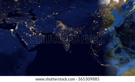 Eastern World Planet Earth Night Day Map Stock Illustration ...