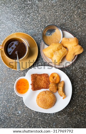 easy breakfast at restaurant in Trang province, on south of Thailand. - stock photo