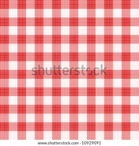 Easy tilable (you see 4 tiles) red gingham repeat pattern (print, seamless background, wallpaper) with fabric texture visible ( for vector EPS see image 10930606 )  - stock photo