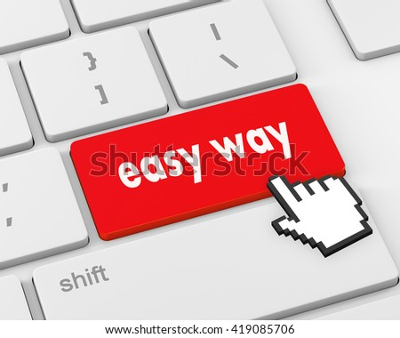 easy way button on computer keyboard pc key, raster, 3d rendering