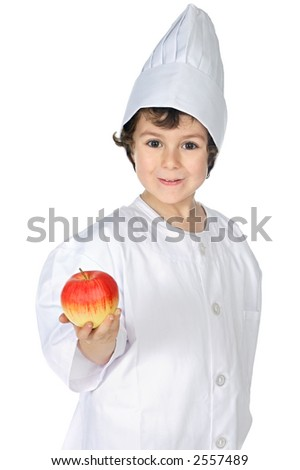 Eat healthy like this kid does (a over white background) - stock photo