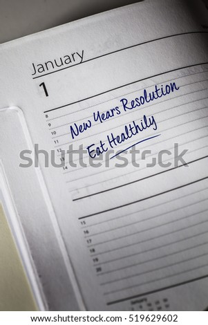 Eat Healthy New Years Resolution in the diary