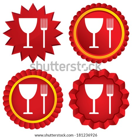Eat sign icon. Cutlery symbol. Fork and wineglass. Red stars stickers. Certificate emblem labels.