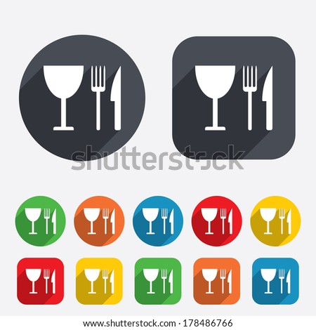 Eat sign icon. Cutlery symbol. Knife, fork and wineglass. Circles and rounded squares 12 buttons.