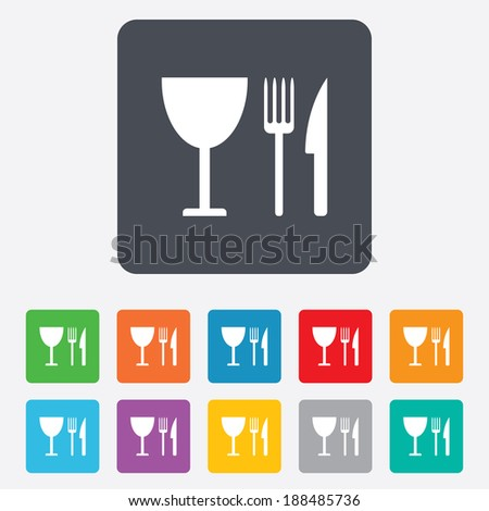 Eat sign icon. Cutlery symbol. Knife, fork and wineglass. Rounded squares 11 buttons.
